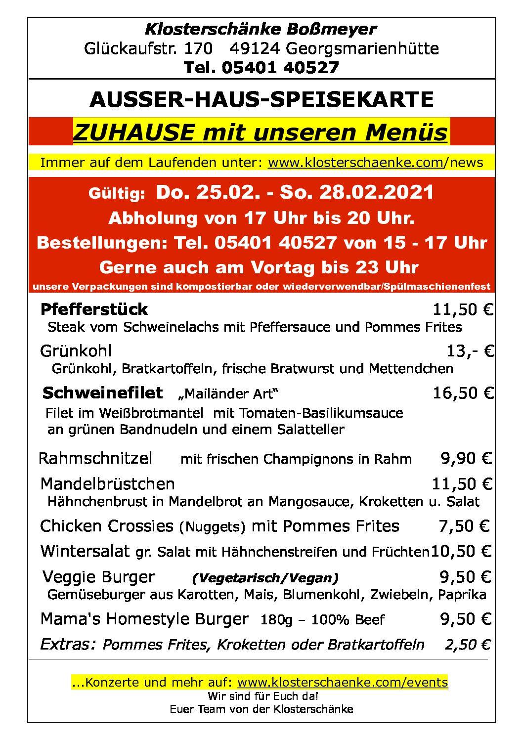AUSSER-HAUS-SPEISEKARTE vom 25.02. – 28.02.2021