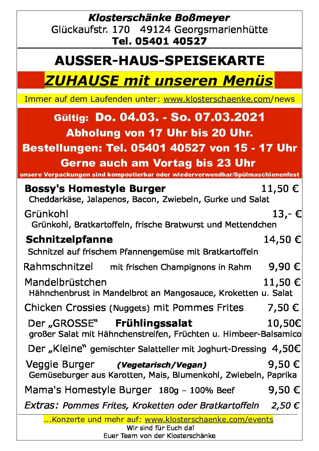 AUSSER-HAUS-SPEISEKARTE 04.03. – 07.03.2021
