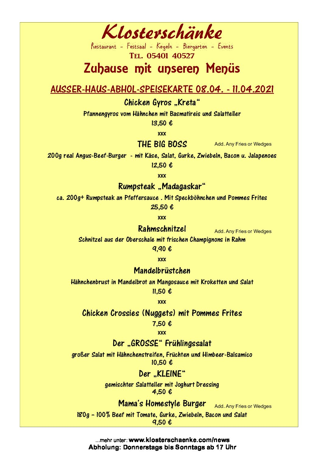 AUSSER-HAUS-SPEISEKARTE 08.04. – 11.04.2021