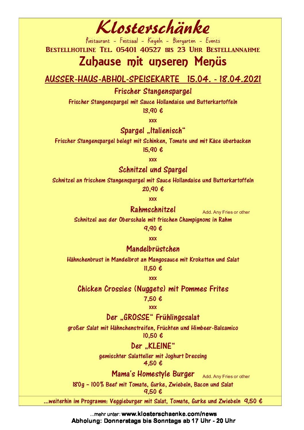 AUSSER-HAUS-SPEISEKARTE 15.04 – 18.04.2021